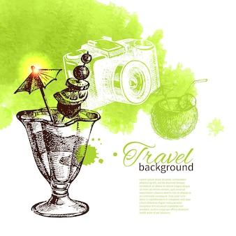 旅行と休日の背景。手描きスケッチ水彩イラスト