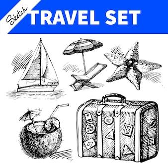 Набор для путешествий и отдыха. ручной обращается эскиз иллюстраций
