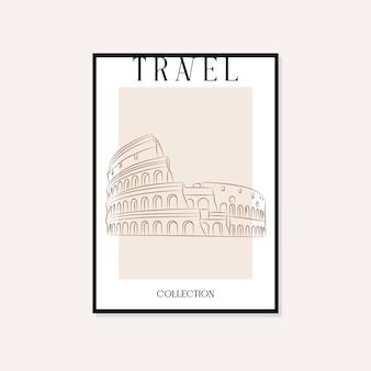 여행 및 랜드마크 최소한의 그림 벡터 벽 예술 포스터 디자인