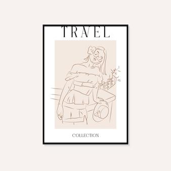 旅行とランドマークの最小限のイラストベクトル壁アートポスターデザイン