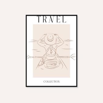 旅行とランドマークの最小限のイラストベクトル壁アートポスターデザイン Premiumベクター