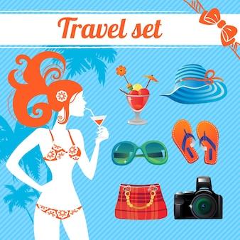 여행과 여름 아이콘 세트, 현대 여성을 위한 인포그래픽