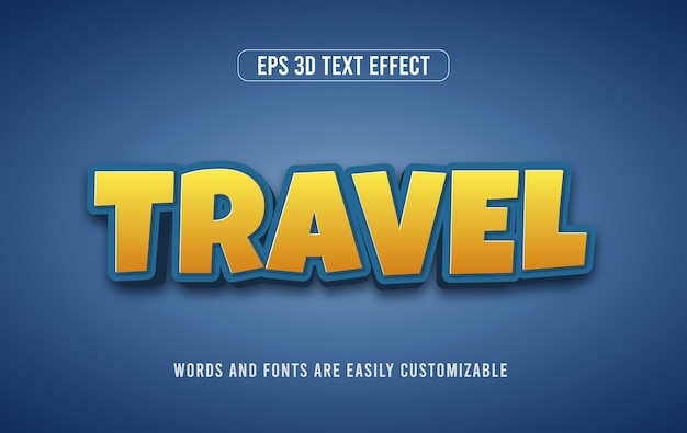 Путешествие и тур 3d векторный редактируемый эффект стиля текста