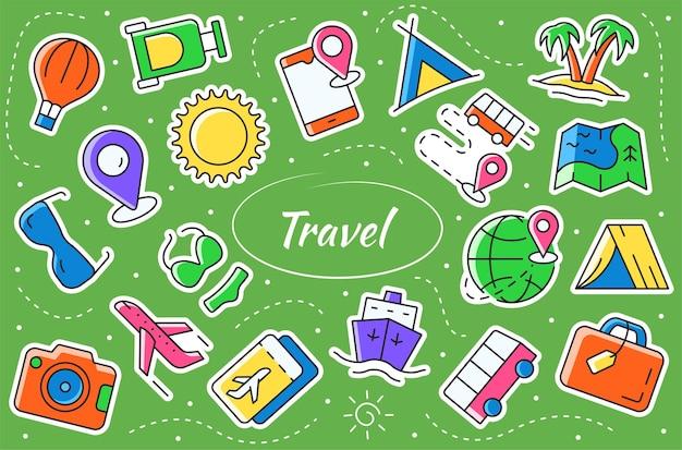Travel and tour - набор наклеек. концепция приключений и туризма. коллекция векторных символов.