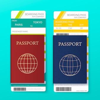 現実的な詳細な3 dパスポート、飛行機のチケット、細い線のアイコンが付いた旅行と観光のコンセプトカード