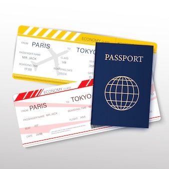 Концепция путешествий и туризма с реалистичным подробным 3d-паспортом, авиабилетами и иконами тонкой линии