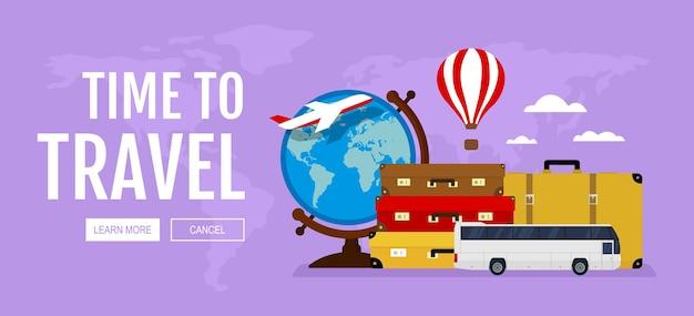 旅行と観光の水平ウェブバナースーツケースグローブバスバルーン