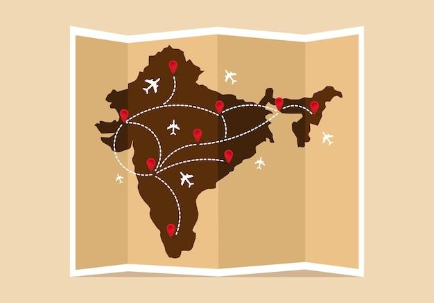 여행 및 관광 지도 인도 빈티지 세계 지도