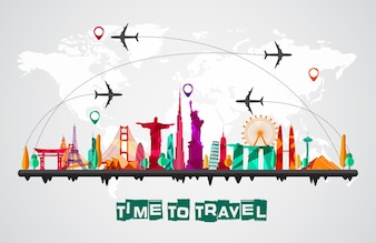 Travel and tourism of silhouettes icons background