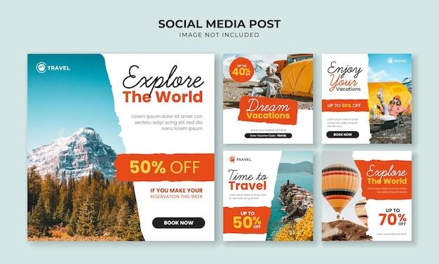 旅行と観光のソーシャルメディアのinstagramの投稿テンプレート