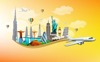 Travel and tourism with airplane