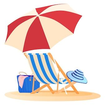 Концепция путешествий и отдыха, пляжный зонт и кресло, расслабляющееся на пляже, иллюстрация