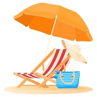 Концепция путешествий и отдыха пляжный зонт и кресло, расслабляющееся на пляже