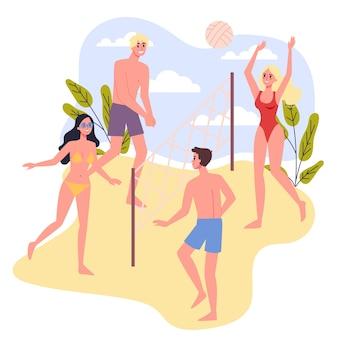 여행 및 휴가 개념. 비치 발리볼을하는 사람들. 여름 휴가를 보내는 사람들. 삽화