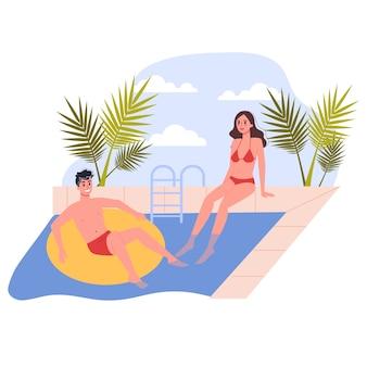 여행 및 휴가 개념. 사람들은 수영장에서 휴식을 취합니다. 여름 휴가있는 커플. 삽화