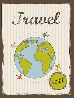 Travel annoucement annoucement vintage style vector illustration