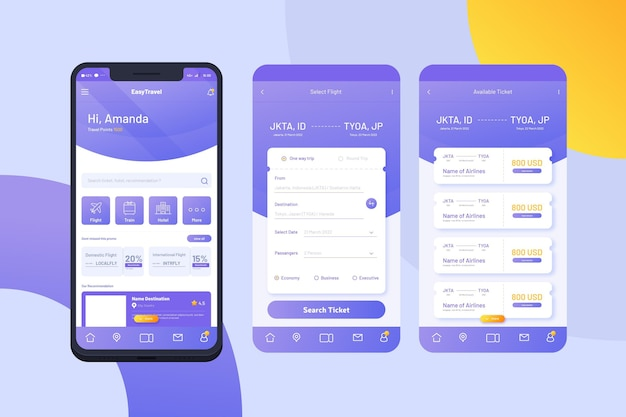 旅行アプリインターフェイスコンセプト