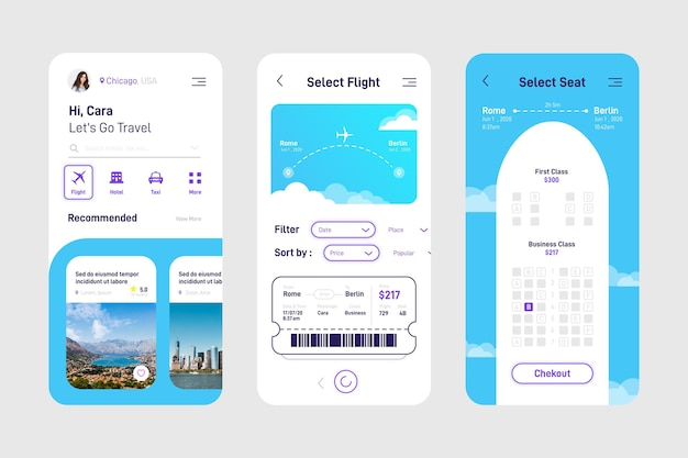 Travel app interface design