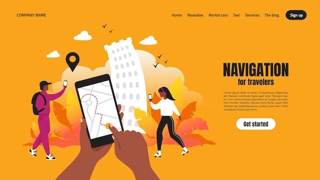 Целевая страница приложения для путешествий. концепция приложения для смартфона с картой и маршрутом, веб-страница с пользовательским интерфейсом навигации. векторные иллюстрации шаблон навигации для городского путешественника