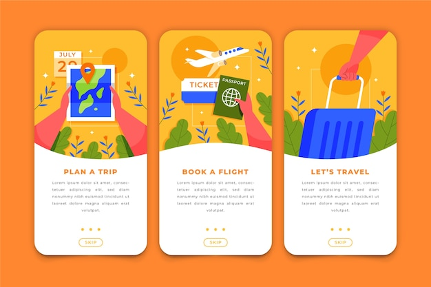 Travel app screens for mobile phone