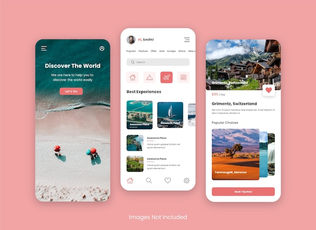 Travel app ui design for mobile