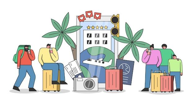 여행 응용 프로그램 개념. 스마트 폰을 사용하여 온라인으로 휴가 또는 여행을 예약하고 예약하는 관광객 그룹
