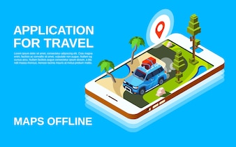 Travel application illustration of car and road map in smartphone screen display.