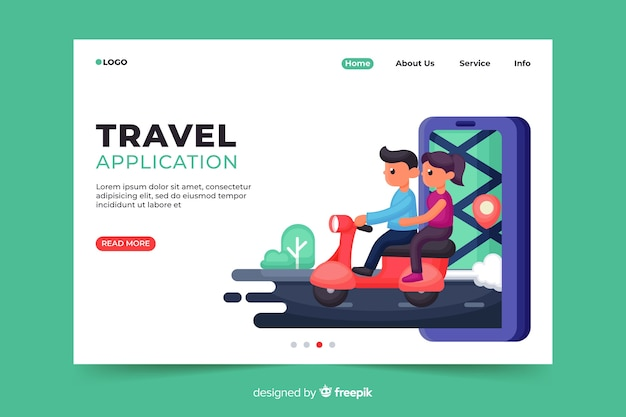 Travel application landing page