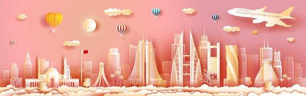 Путешествуйте архитектура бахрейн с зданием взгляда панорамы, горизонтом, небоскребом.