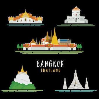 Travel around in bangkok icon landmarks architecture design illustration vector.