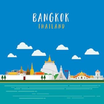 Travel around in bangkok landmarks architecture design illustration vector.