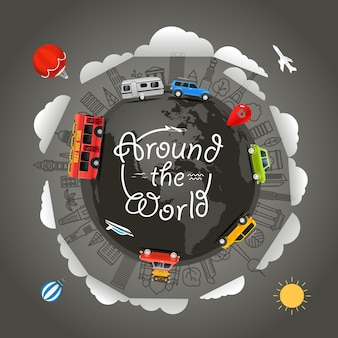 Travel around the earth around the world vector illustration