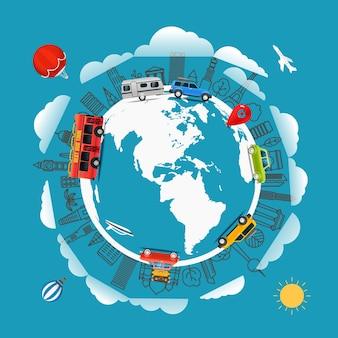 지구 주위를 여행하십시오. 여행 개념을 이동합니다. 삽화