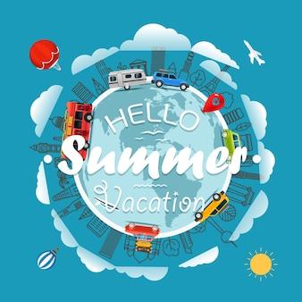 Путешествие вокруг земли привет, летние каникулы, векторные иллюстрации Premium векторы