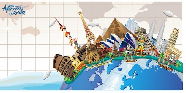 世界各地を旅行する