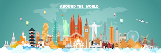 Travel around the world banner