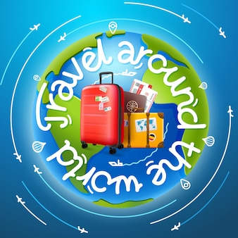 Travel around the world concept with lettering, map and baggage