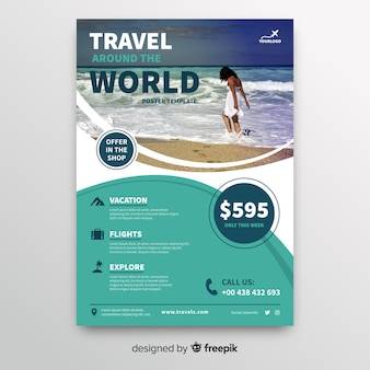 Travel around the world flyer template