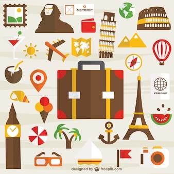 Travel around the world icons Free Vector