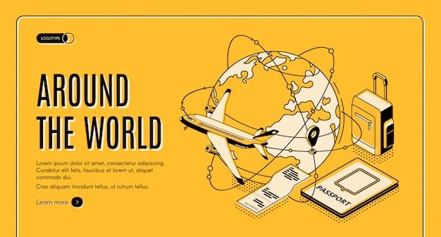 Viaggia intorno alla landing page isometrica del mondo