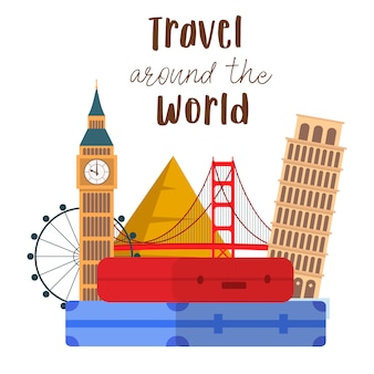 Travel around the world lettering vector postcard.
