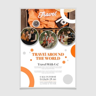 Travel around the world poster template