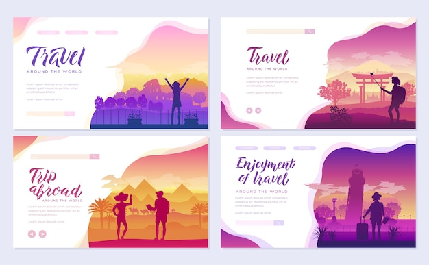 Travel around the world template of flyear, magazines, poster, books, invitation banners.