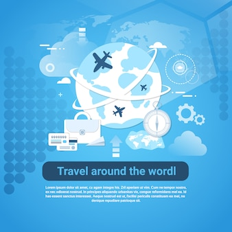 Travel around world web banner with copy space on blue background