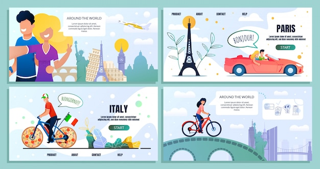 Travel around world website bundle landing page
