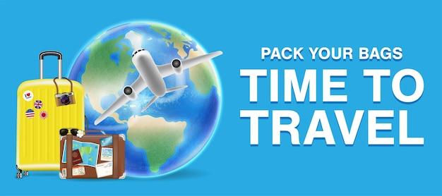 Travel around the world with airplane and bag
