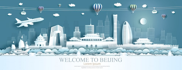 Travel asia landmarks of beijing with airplane, sailboat and balloons.