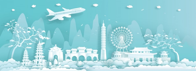Travel asia landmarks city of taiwan taipei on blue background.