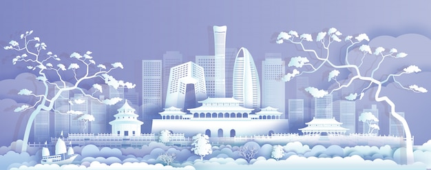 Travel asia landmarks cityscape of beijing on purple background.