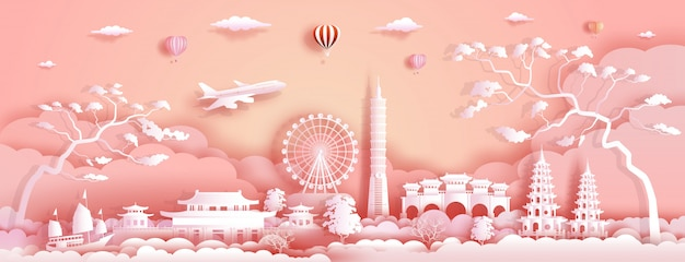 Travel asia landmarks of taiwan with airplane, sailboat and balloons.